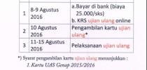 Jadwal Ujian Ulang Genap 2015-2016