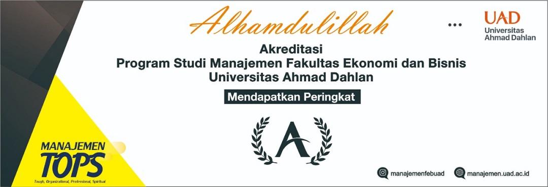 "Selamat kepada Program Studi Manajemen Universitas Ahmad Dahlan memperoleh ""AKREDITASI A"""